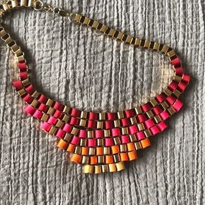 mark. Red, Pink and Gold Statement Necklace